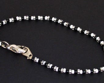 Silver Black and White Seed Beaded Bracelet With Lobster Clasp