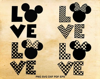 Love Disney svg, Mickey mouse, Minnie mouse, Minnie ears svg, Cut files for Cricut, Svg files for Silhouette Cameo, eps png dxf svg pdf