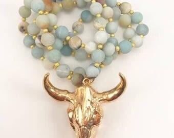 Gold Longhorn Skull Pendant x Multi Druzy Agate Beads