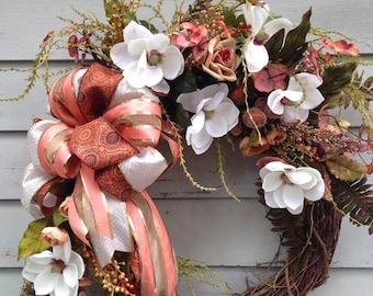 Fall Magnolia Front Door Wreath, Fall Magnolia Wreath, Autumn Wreath, Front Door Wreath, Coral and White Magnolia Wreath,