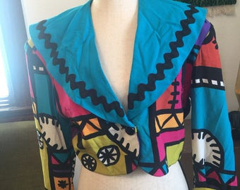 Vintage 80s Sunny Leigh Neon Patterned Jacket