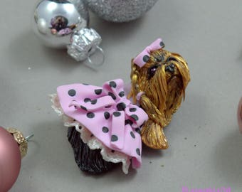 Statement jewelry Brooch jewelry yorkshire terrier Dog brooch Yorki jewelry Polymer clay jewelry  Animal brooch Christmas gift