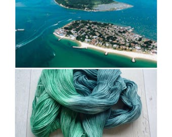 Poole Harbour Hand dyed 4 ply sock yarn blue green beach waves sea coast dorset knitting crochet