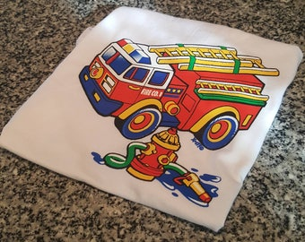 Free Shipping; Toddler Shirt; Fire Fighter; Fire Engine
