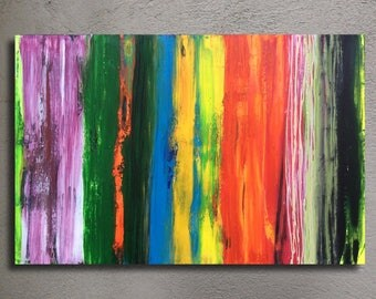 "Large Original Abstract Acrylic Painting 24x36"" 61x91cm stretched canvas ready to hang wall decor free shipping"