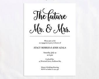 Engagement invitation, Printable engagement invitation, Wedding engagement party, Instant download, Editable PDF