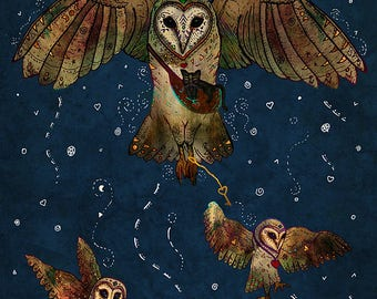 HEALERS OF LIGHT 5x7 Fine Art Print // Barn Owl Art, Barn Owl Print, Owl Artwork, Flying Bird Owl, 5 x 7 Owl Print, Owl Fantasy Art, Magical