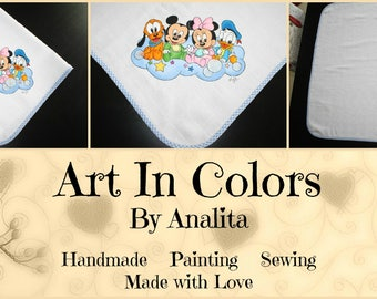 Baby BOY - Hand Painted Baby Mouth Cloth/Diaper