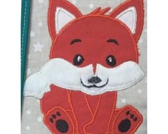 Fox machine embroidery applique