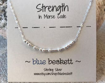 Sterling Silver Morse Code 'Strength' Necklace - Personalize with Custom Favorite Word/Name - Bar Necklace