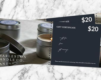 Gift Certificate | Charleston Candle Co. Digital Gift Certificate
