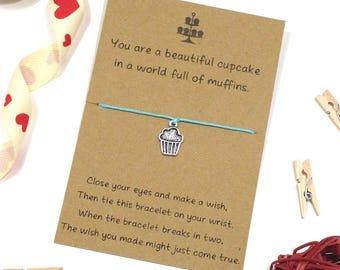 cupcake wish bracelet, friendship bracelet, charm bracelet, best friend, sister gift idea, cheer up gift, string bracelet, present for baker