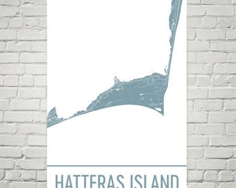Cape Hatteras Map Cape Hatteras Art Hatteras Island Print Hatteras Nc Poster