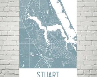 Stuart Map, Stuart Art, Stuart Print, Stuart FL Poster, Stuart Wall Art, Florida Gifts, Map of Florida, Florida Poster, Floridian Art