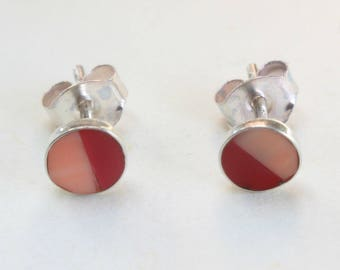 Sterling Silver Studs Red and Pink Coral Earrings Zuni Indian Native American Small Tiny Inlaid Inlay