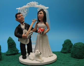 Custom Wedding Cake Toppers Rocker Bride and Groom Cake Topper. The Rock N' Roll Couple. Wedding keepsake. Cake decoration