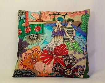 Cushion fabric colorful art print