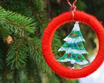 Wool wrapped Christmas tree ornaments.