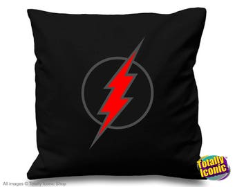 Black Flash Retro logo Emblem Pillow Cushion Cover- Inspired by the CW TV series - Barry Allen, zoom, reverse flash, star labs, dc inspired