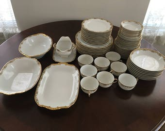 Antique Limoges France Dinner Dishes Service for 8 by Vignaud in the RED/RUST MEUSE Pattern