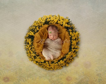 Digital Backdrop newborn girl Background spring floral yellow sunflower field wreath newborn Photography prop download High res jpg file 1