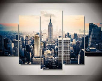 5 Panels City Skyline Skyscraper View Canvas Art Multi Grouped Art Work