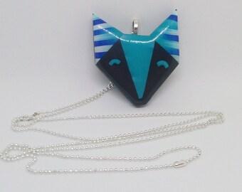 Striped geometric Fox pendant necklace