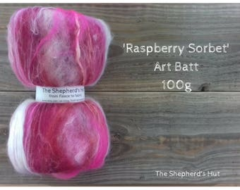 Mixed Wool Art Batt 'Raspberry Sorbet' 100 g  3.5 oz