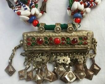 An original vintage Indian Banjara gypsy tribal beaded shell handmade necklace white metal pendant Gujarat India Free worldwide shipping.