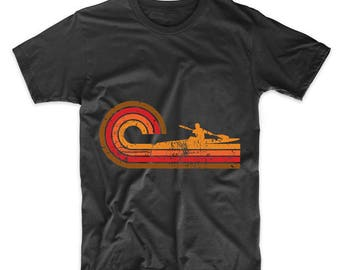 Retro Style Kayaker Silhouette Kayaking T-Shirt