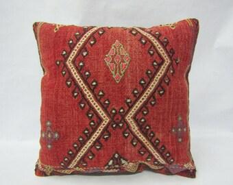Handmade Kilim Pillow Cover,16x16 inches,40x40cm,Decorative Turkish Tribal Kilim Pillow Cover
