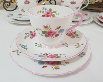 RESERVE For SAM SHELLEY 'Rose and Red Daisy' Tea cup Trio Set, Vintage Fine Bone China, England c1945-66