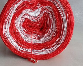 """With """"Candy cane"""" glitter color gradient yarn"""