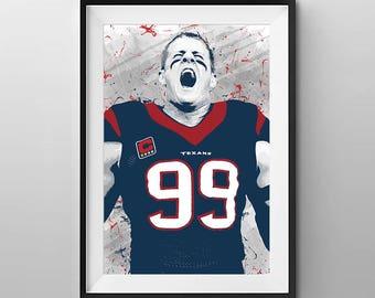 Houston Texans Print - Houston Texans Art - Houston Texans Wall Art - JJ Watt - Digital Illustration - Houston Texans Poster