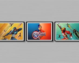 Avengers Civil War Art Prints Set Of 3 - Size A4/A3 - Unframed -