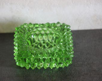 This beautiful green glass salt cellar by Fenton.