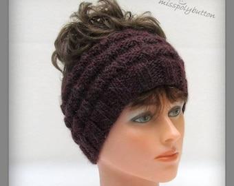 Wide Headband, Warm Winter Headband, Messy Bun Headband, Knit Headband, Ponytail Headband, Burgundy Headband, Earwarmer, Winter Ear Warmer
