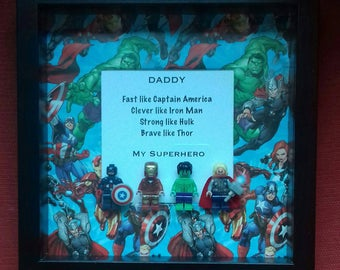 Fathers day my Daddy My superhero framed gift Fathers day for Dad Iron man Hulk Thor captain America Avengers Marvel 4 minifigures
