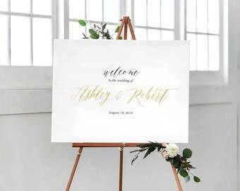 Wedding Welcome Sign, Printable Wedding Sign,  Floral Wedding Sign, Reception Sign, Bohemian Wedding Sign, Custom sign - US_WS0105a