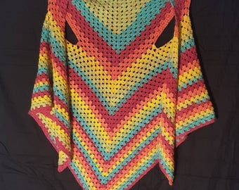 Crocheted triangle shawl sweater vest jacket.