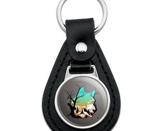 Wolf Mountain Optical Illusion Black Leather Keychain