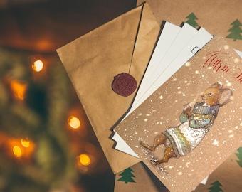 Christmas Card holiday card Holiday Greetings gift ideas print card original painting Merry Christmas handmade card Christmas rabbit