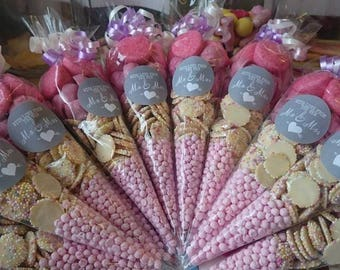Wedding Favour Sweet Filled Cone Bag with Sticker