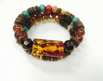Amber Effect (Plastic) with Red Leaves, Autumn and Winter Nature Inspired Woodland Upcycled Memory Wire Bracelet