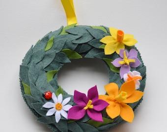 Spring wreath, handmade, felt, Easter, Flowers, Ladybird, leaves, decoration