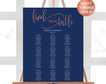 Navy Seating Chart Template - Wedding Seating Chart Printable - Navy and Rose Gold Wedding Seating Chart - Downloadable wedding #WDH31RG32