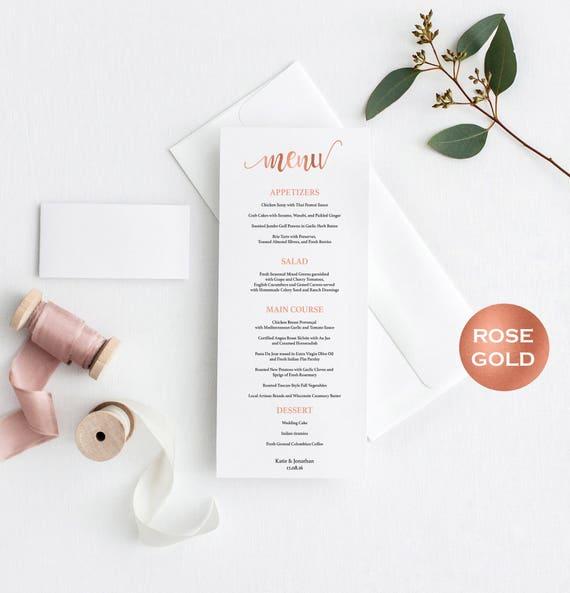 Rose Gold Wedding Menu Card Template