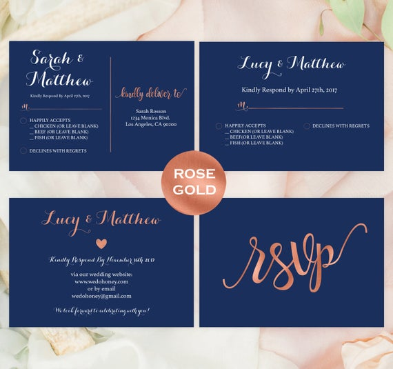 navy and rose gold wedding template