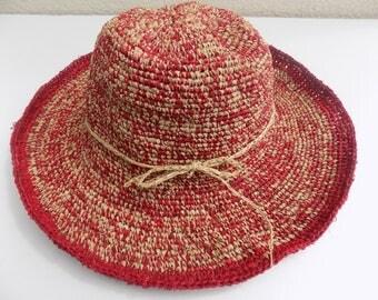woman Hat girl, straw hat, natural, handmade, red, white crochet Hat beige, Sun Hat, wedding, city, beach, straw Beach