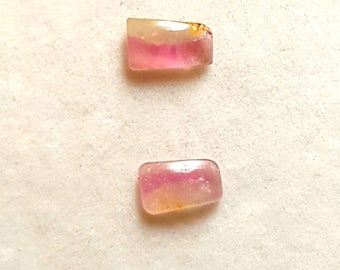 1.80Ct 2Pc Pair Natural Watermelon Tourmaline Gemstone Tourmaline Cabochon Slice Pair Loose Bi-Color Tourmaline Slice 5X9X2 MM Cab